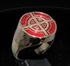 Picture of 21 x BRONZE MEN'S SIGNET RINGS CELTIC CROSS BULLS EYE TARGET DARK RED WHOLESALE-LOT