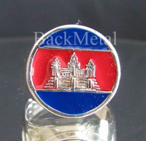 Picture of 21 x ROUND STERLING SILVER RINGS CAMBODIA FLAG ANGKOR WAT KHMER BLUE RED WHOLESALE-LOT
