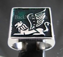 """Picture of 21 x STERLING SILVER RINGS """" ARABIC LION with WINGS """" GRIFFIN SPHINX GREEN WHOLESALE-LOT"""