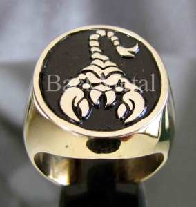 Picture of 21 x BRONZE MEN'S SIGNET ZODIAC RINGS SCORPIO SCORPIONS BLACK WHOLESALE-LOT