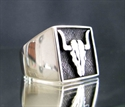 "Picture of 21 x STERLING SILVER RINGS "" BUFFALO BULL SKULL "" TEXAS TAURUS  ANTIQUED WHOLESALE-LOT"