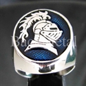 "Picture of 21 x STERLING SILVER RINGS "" KNIGHT "" LANCELOT ARMOR HELMET DARK BLUE WHOLESALE-LOT"