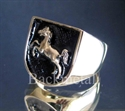 "Picture of 21 x BRONZE RINGS ""JUMPING HORSE "" CIRCUS COAT OF ARMS BLACK WHOLESALE-LOT"