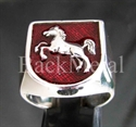 "Picture of 21 x STERLING SILVER RINGS ""JUMPING HORSE "" CIRCUS COAT OF ARMS DARK RED WHOLESALE-LOT"