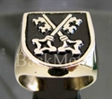 "Picture of 21 x BRONZE RINGS "" TWO CROSSED SKELETON KEYS"" COAT OF ARMS BREMEN BLACK WHOLESALE-LOT"