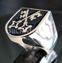 "Picture of 21 x STERLING SILVER RINGS "" TWO CROSSED SKELETON KEYS"" COAT OF ARMS BREMEN DARK BLUE WHOLESALE-LOT"