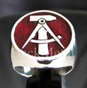 """Picture of 21 x STERLING SILVER RINGS """"HAMMER & COMPASSES"""" EAST GERMANY GDR DDR DARK RED WHOLESALE-LOT"""