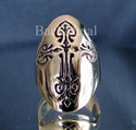 Picture of 21 x LONG OVAL BRONZE MEN'S GOTHIC RINGS COPTIC CROSS ANTIQUED WHOLESALE-LOT