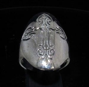 Picture of 21 x LONG OVAL STERLING SILVER MEN'S GOTHIC RINGS COPTIC CROSS ANTIQUED WHOLESALE-LOT
