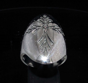 Picture of 21 x LONG STERLING SILVER MEN'S GOTHIC RINGS SAINT LORENZ CROSS ANTIQUED WHOLESALE-LOT