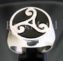 "Picture of 21 x STERLING SILVER RINGS "" CELTIC TRIADE "" WATER POWER SYMBOL RUNE BLACK WHOLESALE-LOT"
