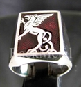 Picture of 21 x STERLING SILVER RINGS GRIFFIN GRIFFON GRYPHON MEDIEVAL DARK RED WHOLESALE-LOT