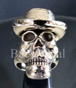 """Picture of 21 x BRONZE RINGS """"SKULL WITH HAT"""" BLUES BROTHER COWBOY WHOLESALE-LOT"""