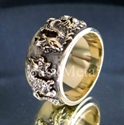 Picture of 21 x BRONZE RINGS TWO 2 DRAGON COAT OF ARMS MEDIEVAL GOTHIC WHOLESALE-LOT