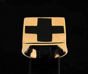 Picture of 21 x BRONZE SIGNET RINGS WITH A BLACK ENAMEL CROSS WHOLESALE-LOT