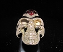 Picture of 21 x BRONZE OUTLAW BIKER GRINING SKULL RINGS 1% ER ONE PERCENT MC DARK RED WHOLESALE-LOT