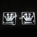 Picture of 21 x SQUARE STERLING SILVER CUFFLINKS QUEEN'S CROWN CHESS SYMBOL BLACK WHOLESALE-LOT