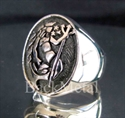 Picture of 21 x OVAL STERLING SILVER MEN'S SIGNET ZODIAC RINGS AQUARIUS ANTIQUED WHOLESALE-LOT
