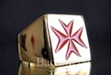 Picture of 21 x BRONZE RINGS MALTESE CROSS CRUSADER MALTA INLAY RED WHOLESALE-LOT