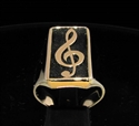 Picture of 21 x BRONZE MEN'S SIGNET RINGS CLEF MUSIC SYMBOL MUSICAL NOTE ANTIQUED WHOLESALE-LOT