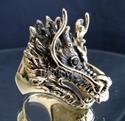 Picture of 21 x BRONZE RINGS BIG DRAGON HEAD FUCHUR RED GARNET EYES WHOLESALE-LOT