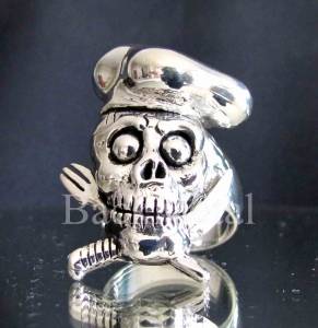 Picture of 21 x ARTWORK STERLING SILVER RINGS CHEF COOK SKULL CROSSED KNIFE AND FORK WHOLESALE-LOT