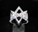 Picture of 21 x STERLING SILVER RINGS UNICURSAL HEXAGRAM HEXAGON DEVIL SYMBOL SATANAS WHOLESALE-LOT