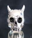 Picture of 21 x ARTWORK STERLING SILVER BIKER RINGS LONG HORN VAMPIRE SKULL TOTENKOPF EMO WHOLESALE-LOT