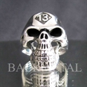 Picture of 21 x LUCKY NUMBER STERLING SILVER BIKER RINGS STREETFIGHTER SKULL 13 ER MOTORBIKE CLUB MC WHOLESALE-LOT
