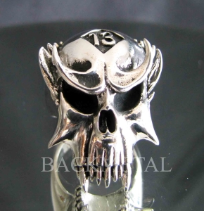 Picture of 21 x LUCKY NUMBER STERLING SILVER BIKER RINGS VAMPIRE SKULL 13 ER MOTORBIKE CLUB MC WHOLESALE-LOT