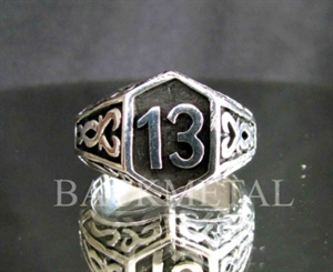 Picture of 21 x LUCKY NUMBER STERLING SILVER BIKER RINGS CELTIC DESIGN 13 ER MOTORBIKE CLUB MC WHOLESALE-LOT