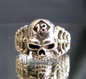 Picture of 21 x LUCKY NUMBER PATCH STERLING SILVER BIKER RINGS SKULL & BONES 13 RIPPER CLUB MC WHOLESALE-LOT