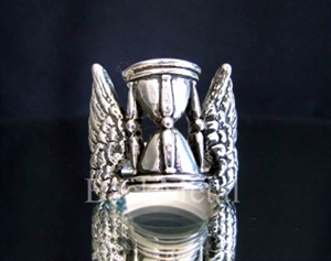 Picture of 21 x STERLING SILVER ARTWORK RINGS WINGED HOUR GLASS A SYMBOL FOR FLYING TIME ANCIENT DESIGN WHOLESALE-LOT