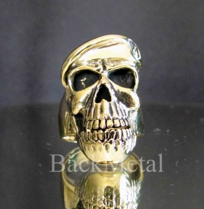Picture of 21 x BRONZE ARMY OFFICER SKULL RINGS WITH BERET SPECIAL FORCES SOLDIER BASQUE WHOLESALE-LOT