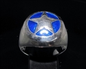 Picture of 21 x STERLING SILVER MEN'S RINGS TEXAS RANGER STAR US MARSHAL SHERIFF DARK BLUE WHOLESALE-LOT