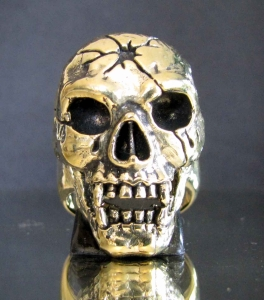 Picture of 21 x ARTWORK BRONZE BIKER RINGS DEATH BY BULLET SKULL TOTENKOPF MC WHOLESALE-LOT