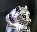 Picture of 21 x STERLING SILVER RINGS PITBULL WITH DARK RED GARNET COLLAR WHOLESALE-LOT