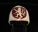 Picture of 21 x BRONZE RINGS SCOTTISH RAMPANT LION COAT OF ARMS DARK RED WHOLESALE-LOT