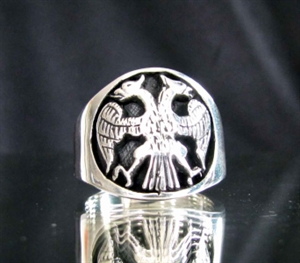 Picture of 21 x STERLING SILVER MEN'S RINGS TWIN HEAD EAGLE COAT OF ARMS WHOLESALE-LOT