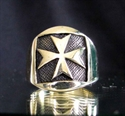 Picture of 21 x BRONZE MEN'S RINGS MALTESE CROSS COAT OF ARMS ANTIQUED WHOLESALE-LOT