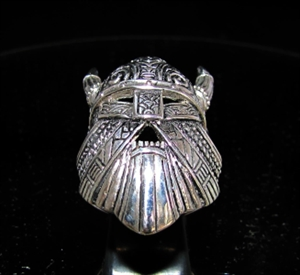 Picture of 21 x STERLING SILVER MEN'S RINGS THE VIKING MASK WITH HORNS WARHAMMER THOR ANTIQUED WHOLESALE-LOT