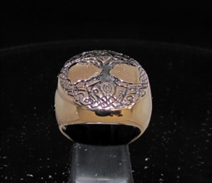 Picture of 21 x ANCIENT ROUND BRONZE MEN'S SIGNET RINGS CELTIC TREE OF LIFE ESOTHERIC ANTIQUED WHOLESALE-LOT