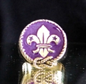 Picture of 21 x BRONZE RINGS FLEUR DE LIS LILY BOYSCOUT PURPLE ENAMEL WHOLESALE-LOT