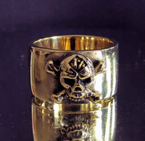 Picture of 21 x BRONZE BAND RINGS ONE PERCENTER 1% CROSS BONE SKULL WHOLESALE-LOT