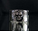 Picture of 21 x STERLING SILVER BAND RINGS ONE PERCENTER 1% CROSS BONE SKULL WHOLESALE-LOT