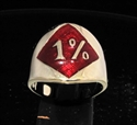 Picture of 21 x BRONZE RINGS DIAMOND 1% ER PERCENTER OUTLAW WITH DARK RED ENAMEL WHOLESALE-LOT