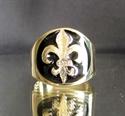 Picture of 21 x BRONZE RINGS FLEUR DE LIS LILY WITH BLACK ENAMEL WHOLESALE-LOT