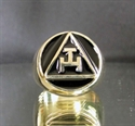 Picture of 21 x BRONZE RINGS MASONIC ARCHER WITH BLACK ENAMEL WHOLESALE-LOT