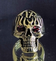 Picture of 21 x BRONZE RINGS ONE PERCENETER SKULL ON FIRE WITH RED CZ EYES WHOLESALE-LOT