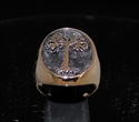 Picture of 21 x OVAL BRONZE MEN'S SIGNET RINGS RING WITH A TREE OF LIFE SYMBOL ANTIQUED WHOLESALE-LOT
